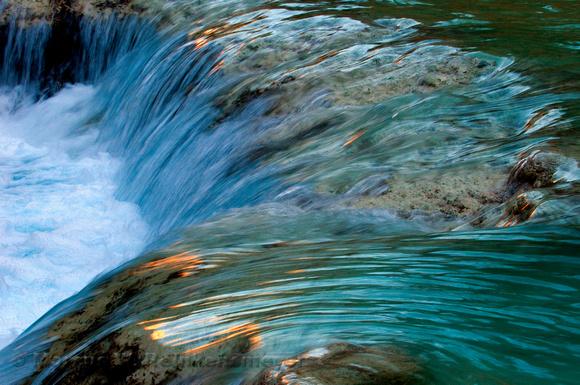 Havasu Falls pool, with glints of canyon wall reflections.