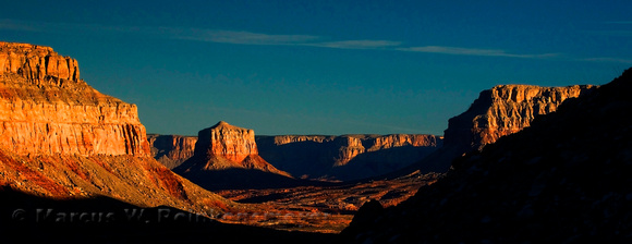 Landscape photography of buttes, along the hiking trail to Havasu Falls, Arizona.