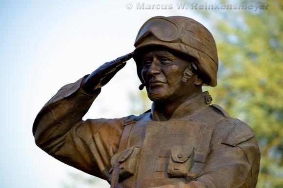 Enduring Freedom, a bronze sculpture honoring United State military veterans. Wesley Bohlin Plaza, Phoenix, Arizona.
