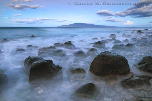 Misty Morning Surf, Beach Near Lahaina, Hawaii