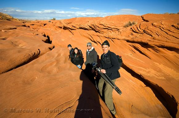Photography team entering Lower Antelope Canyon, a slot canyon near Page, Arizona.