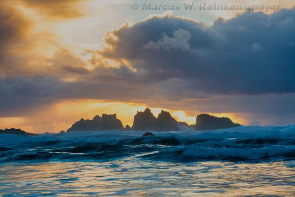 Turbulant Sunset  Bandon Beach Oregon