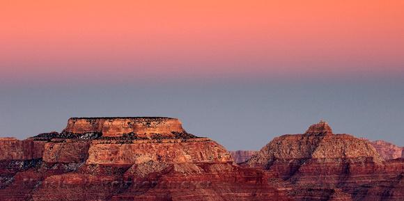 Grand Canyon, Yavapai Point. Aplenglow, pink sky. Arizona landscape photography.