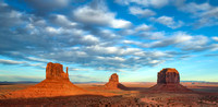 Three Mittens at Sundown, Monument Valley, Arizona and Utah Border 2 pano