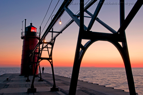 Lighthouse and Pier at South Haven,  Michigan.