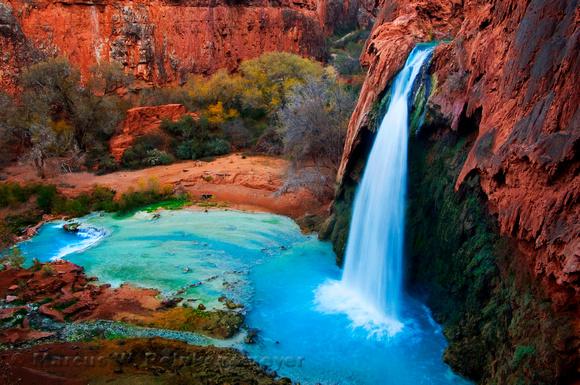 Located in a side canyon of the Grand Canyon, Havasu Falls waterfall in Havasupai, Arizona.