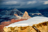 Winter snow storm at Grand Canyon, viewed from Mather Point.  Hyperfocal landscape photography.