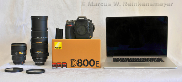 Full-frame DSLR camera and gear: Nikon D800E, camera lenses and Mac Book Pro Retina.