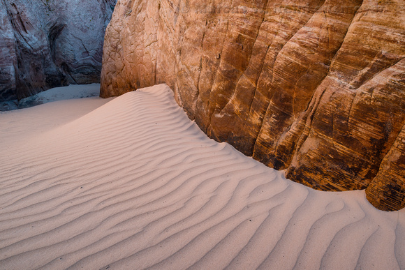 Sand ripples at the entrance of Zebra Canyon, Grand Staircase, Escalante, Utah.