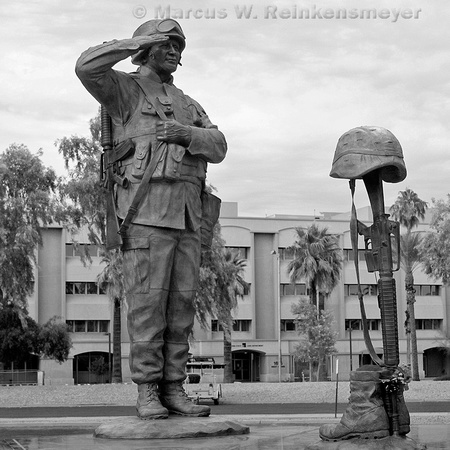 Bronze sculpture of Field Cross Salute, at Wesley Bolin Memorial Plaza, Phoenix, Arizona.