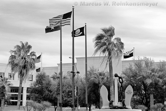 USS Arizona Flag and Mast, located at Wesley Bolin Plaza, Phoenix, Arizona.