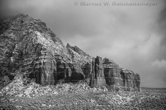 Shrouded Red Rock Formation Sedona AZ BW