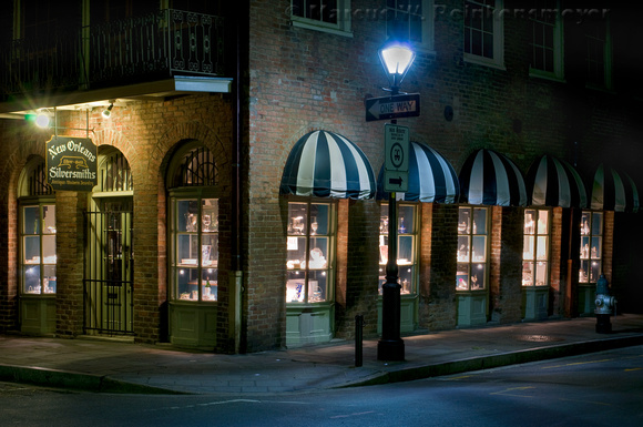 Night Storefront Scene, French Quarter, New Orleans, Louisiana