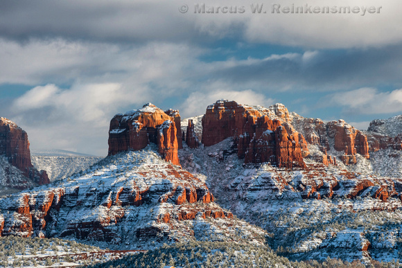 Snow Laced Cathedral Rock