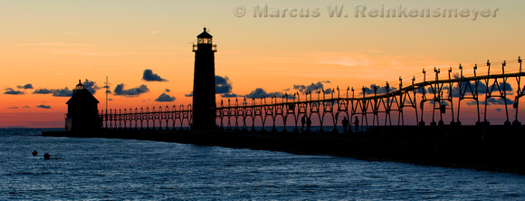 Lighthouse and Pier in Grand Haven, Michigan.