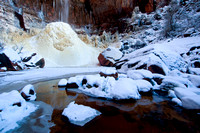 Half Frozen, Upper Emerald Pool, Zion National Park, Utah