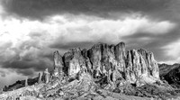 Superstition Mountains West Face 2 pano BW