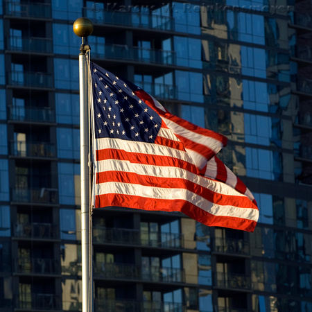 Independence Day Tribute: The American Flag flying proudly in Chicago, the Windy City.