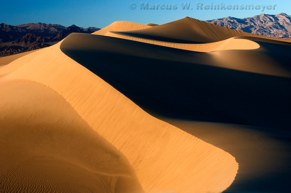 Mesquite Sand Dunes formations at Death Valley National Park, California.