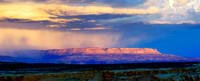 Storm on the mountain horizon, viewed from Alstrom Point, Lake Powell, Utah.