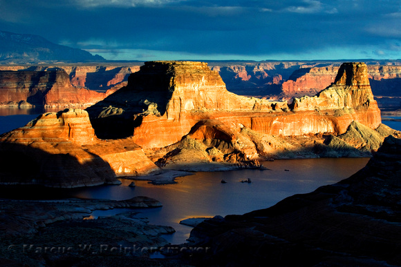 "Gunsight Butte at Lake Powell, photographed from Altrom Point during the ""golden hour"" at dusk. Glen Canyon National Recreation Area."