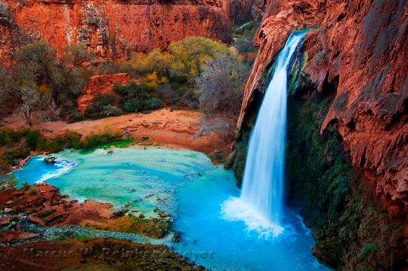 Located in a side canyon of the Grand Canyon, Havasu Falls waterfall in Havasupai, Arizona.